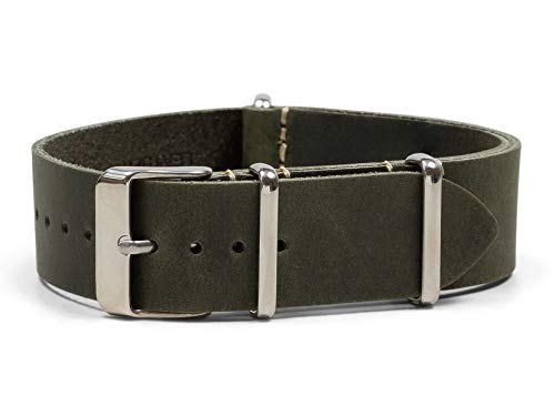 Benchmark Straps 20mm Dark Green Oiled Leather NATO Watchband (More Colors Available) (Finish Patina Moss)