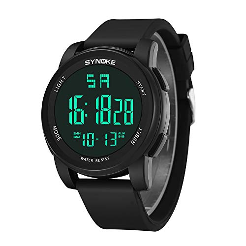 (SPORTTIN Mens Digital Sports Watch Outdoor Waterproof Silicone Stopwatch Wristwatch(Black))