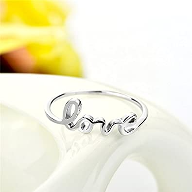 YFN Sterling Silver Simple Love Script Ring Thin Band Promise Ring