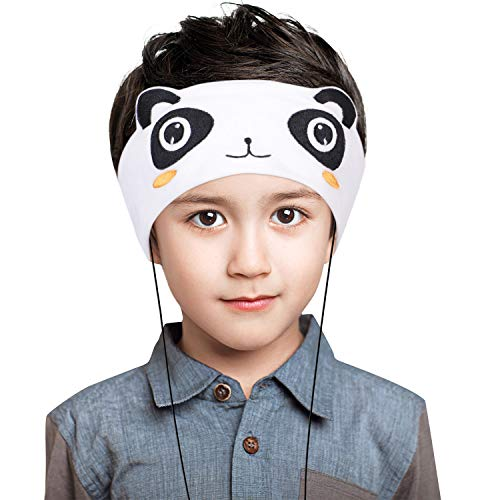 Homelove Wired Kids Headphones with Ultra Thin Adjustable 1/8 Speakers Soft Fleece Headband or Patch for School or Home Panda