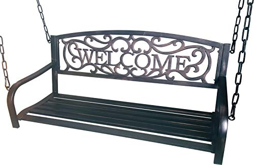 BACKYARD EXPRESSIONS PATIO · HOME · GARDEN 906729 Bronze Colored Welcome Outdoor Metal Porch Bench Swing, Black