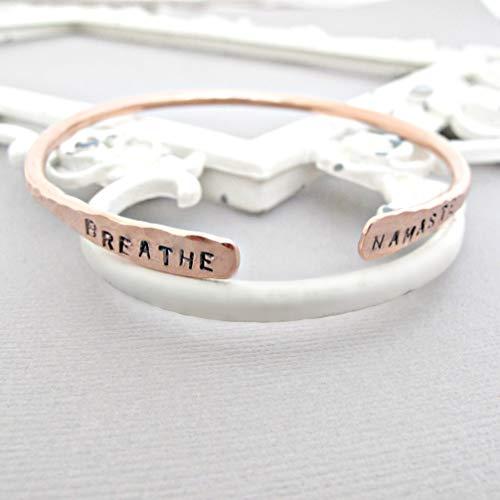 Yoga Breathe Namaste HandStamped Personalized Rose Bangle Cuff Bracelet Yogi Jewelry