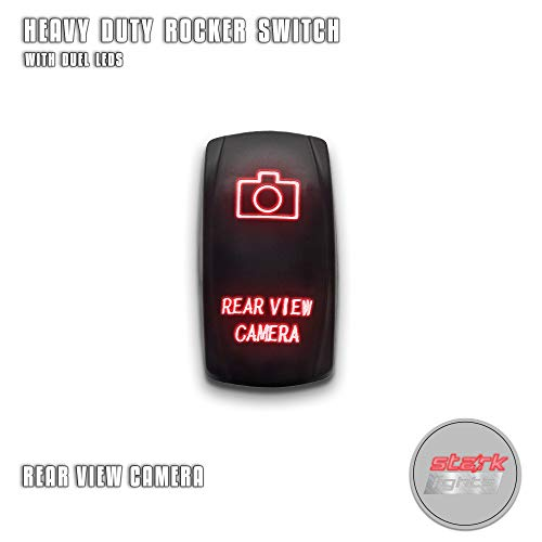 REAR VIEW CAMERA - Red - STARK 5-PIN Laser Etched LED Rocker Switch Dual Light - 20A 12V ON/OFF