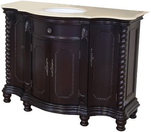 Bellaterra Home 600161-DM-CM 48-Inch Single Sink Vanity, Creama Marfil, Wood, Dark Mahogany
