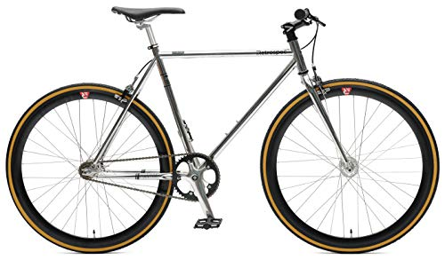 Complete Fixed Gear Bike - Retrospec Bicycles Mantra V2 Single Speed Fixed Gear Bicycle, Chrome/Black, 49cm/Small