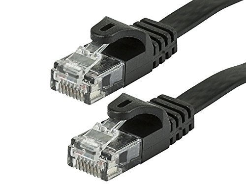 Cat5e 350mhz Ethernet Patch Cord - Monoprice Cat5e Ethernet Patch Cable - Network Internet Cord - RJ45, Flat,Stranded, 350Mhz, UTP, Pure Bare Copper Wire, 30AWG, 5ft, Black