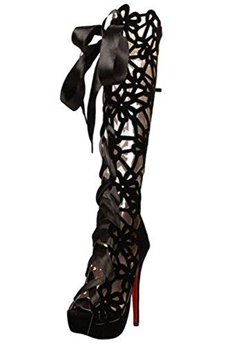 D2C Beauty Women's Cut Out Knee High Heel Boots Gladiator Sandals, Black EURO40/US9/UK7