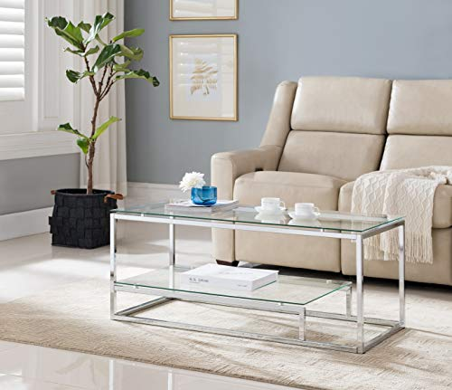 Chrome Finish Glass 2-Tier Contemporary Cocktail Coffee Table with Lower Shelf ()
