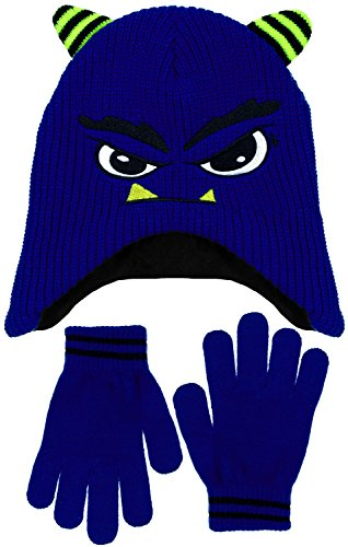 Boys Meanie Monster Face Fleece Lined Knit Beanie & Gloves Set in Blue or Red (Blue) (Ribbed Pattern Grade)