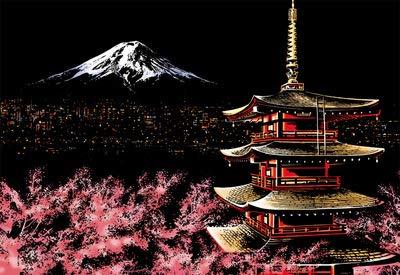 TOPFAY 1pc Scratch Art cé lè bre City Night Voir Dazzling Paper Craft Art Scratchboard DIY Papier Accueil Salon Dé coration (Fuji Mountain, sans Outils)