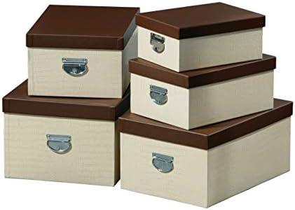 Premier Housewares - Cajas de almacenaje rectangulares (25 x 50 x 35 cm, Juego de 5 Unidades), Color Crema: Amazon.es: Hogar