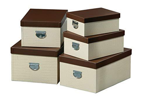 Premier Housewares Mock Croc Storage Boxes - Set of 5, Cream