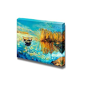 Canvas Prints Wall Art - Original Oil Painting of Boats, Lake and Fern(Rush) on Canvas.Sunset Over Ocean - 12