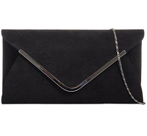 Evening Suede Bag Bag Womens Prom Trim Faux Black Envelope Ladies Tone Handbag Metal Silver Clutch Shoulder Wedding Bag wqnqIFx1HX