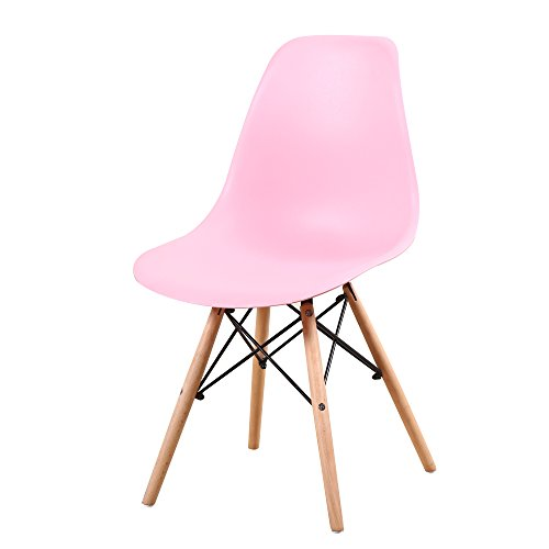 (Italian Concept Set, Chair Legs in Black Lacquered Wood Metal Structure Connector. SEAT BACKREST in Polypropylene, Pink,)