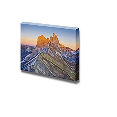 Beautiful Landscape of Dolomites View from Mt Seceda at Italian Alps During Beautiful Sunset Wood Framed - Canvas Art Wall Art - 32