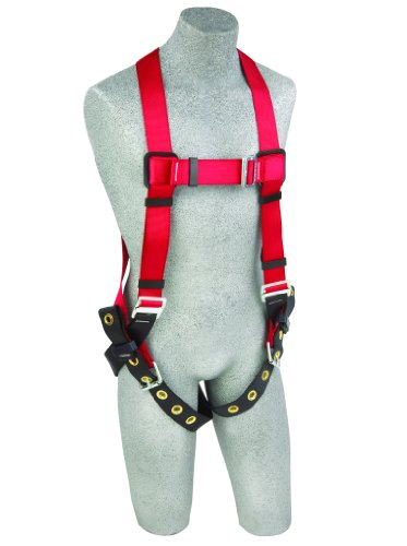 3M Protecta PRO 1191237 Fall Protection Full Body Harness, Back D-Ring , Tongue Buckle Legs, 420  lb. Capacity, Medium/Large, Red/Black
