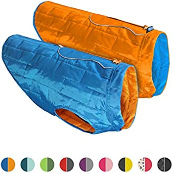 Kurgo Dog Jacket | Reversible Winter Coat for Dogs | Fleece Vest for Pets | Reflective | Wear with Harness | Water Resistant Loft Jacket | For Small Medium Large Pets (Blue/Orange, Large)