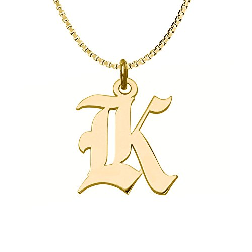 (Ouslier Personalized 925 Sterling Silver Gothic Initial Necklace Custom Made with One Initial (Golden) )