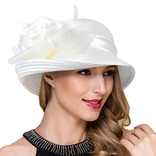 - Women Kentucky Derby Church Dress Cloche Hat Fascinator Floral Tea Party Wedding Bucket Hat S052 (S608-Cream)