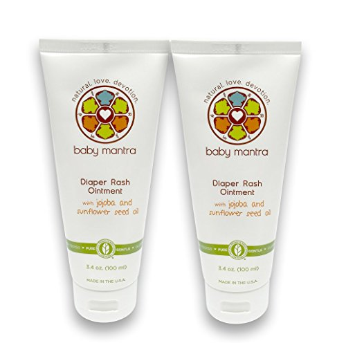 Baby Mantra Natural Diaper Rash Ointment - Hypoallergenic Diaper Cream with Zinc Oxide - Best for Newborns, Babies, and Toddlers with Sensitive Skin - 3.4 Ounce Tube, Pack of 2