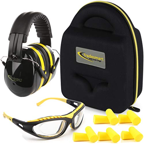 TRADESMART Shooting Range Earmuffs and Glasses - Ear and Eye Protection for The Gun Range with Protective Case, - UV400 Anti-Fog and Anti-Scratch, Clear Safety Glasses - NRR 28 (Yellow)