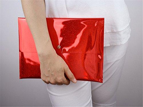 Flada - Cartera de mano para mujer plateado plata mediano Red