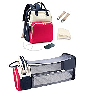 3 in 1 Baby Travel Foldable Bed Diaper Bag Backpack Portable Diaper Changing Station with USB Charge (Red and Blue)
