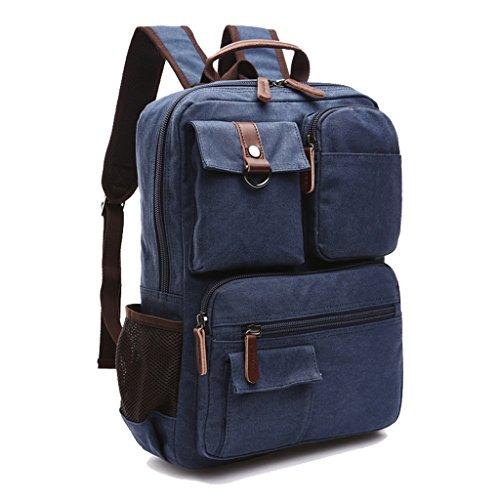 Super moderno vintage lienzo mochila mochila para portátil/escuela/senderismo/al aire libre Casual daypacks Colegio Bolsa, Bolsa de ordenador portátil bolsa de oso, hombre, café azul