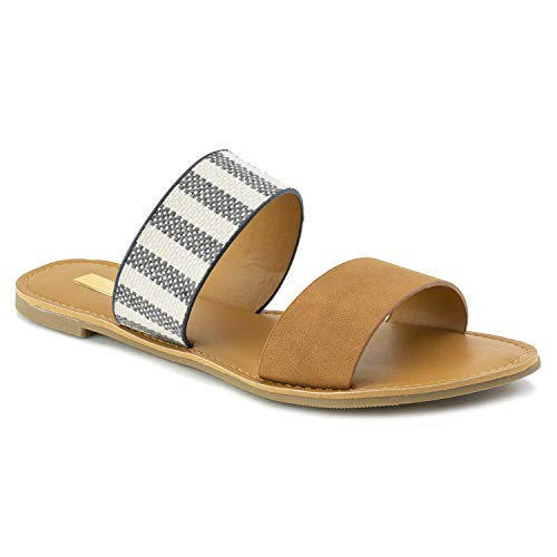 (RF ROOM OF FASHION Women's Double Band Slide On Flat Sandals Camel)
