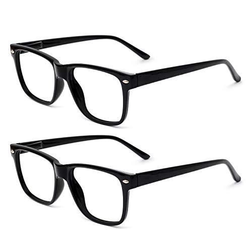 OCCI CHIARI Reading Glasses Readers Women Men Prescription Eyeglasses Computer Eyewear Spring Hinge Black 2 Pack 175