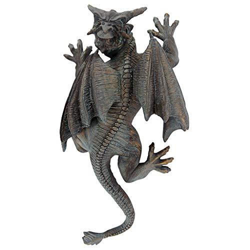 Design Toscano Gargoyle Demon on the Loose Gothic Decor Wall Sculpture, Medium, 13 Inch, Polyresin, Bronze Verdigris - Home Garden Gargoyle Statue
