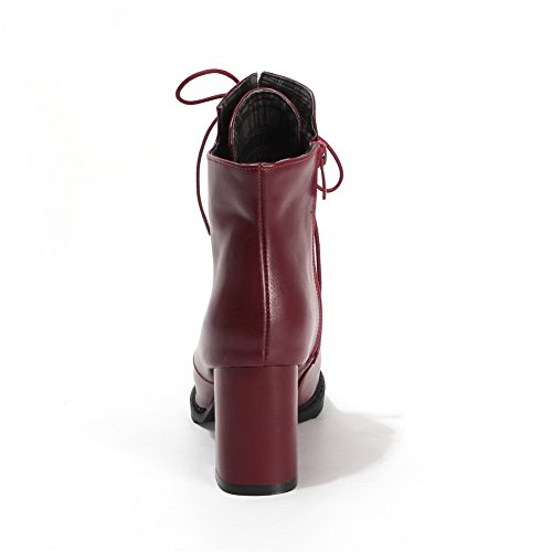 Leather Red Pinker A Girls Boots Chunky Imitated Bandage amp;N Winkle Heels 8SZwxRqS1