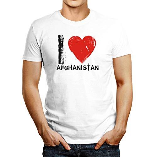 Idakoos I Love Afghanistan Vintage T-Shirt White