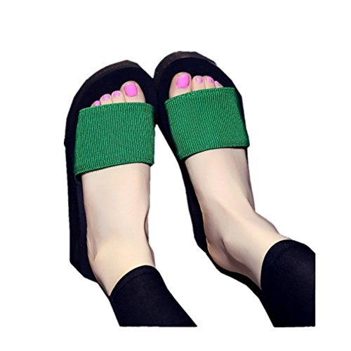 Non Casual Woopower Women Green Beach Shoes Slippers slip Sandals Summer Platform High Bottom U0EEnqZ5g