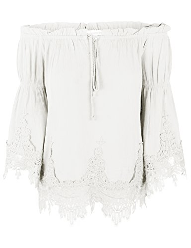 makeitmint Women's Flounce Crinkle Blouse Top w/Lace Crochet Trim YIQ0005-WHITE-LRG Crinkle Cotton Big Shirt