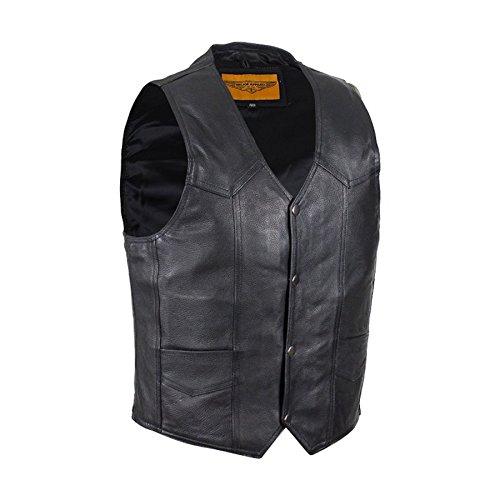 Ultimate Leather Apparel Mens Plain Black Leather Motorcycle Vest With Gun Pocket Solid Back (48)