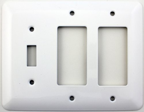 Mulberry Princess Style White Three Gang Combination Switch Plate - One Toggle Light Switch Openings Two GFI/Rocker - Fiori Light 2