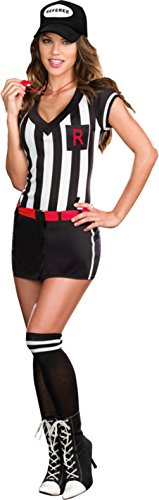 Sexy Referee Outfits (Dreamgirl Womens Out Of Bounds Stripped Referee Outfit Fancy Dress Sexy Costume, XL (14-16))