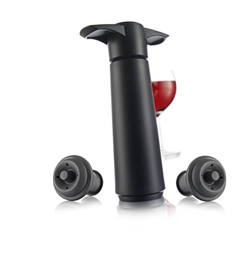 The Original Vacu Vin Wine Saver with 2 Vacuum Stoppers – Black (Rubber Wine Stoppers)