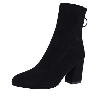 Mujer Calcetines Invierno Zapatos elástica Botas Puntiagudo Botas Dama Gruesos Tacones Botas de Dedo del pie Redondo: Amazon.es: Zapatos y complementos