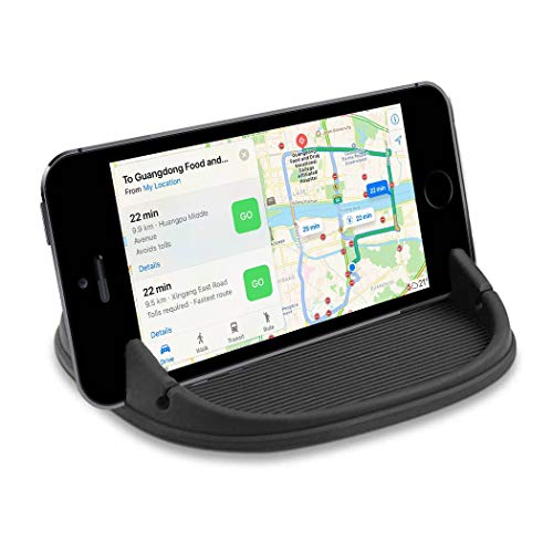 KERWU Car Phone Holder, Car Phone Mount Silicone Phone Car Dashboard Car Pad Mat Various Dashboards, Anti-Slip Desk Phone Stand Compatible with iPhone, Samsung, Android Smartphones, GPS - Dark Black (Desk Anywhere)