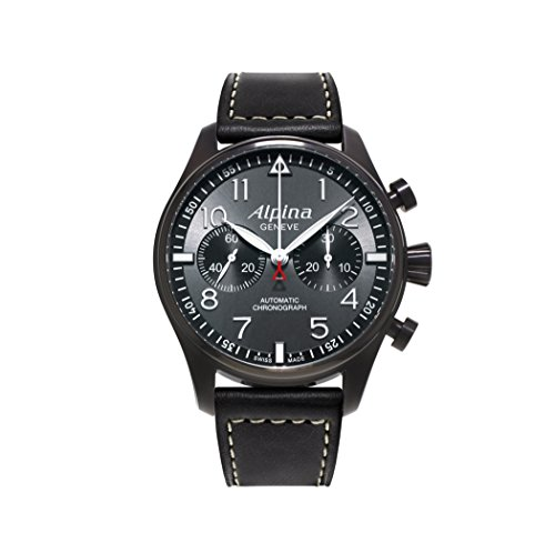 Alpina Startimer Pilot Chronograph Grey Dial Leather Mens Watch AL-860GB4FBS6