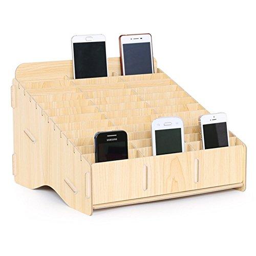 Lzttyee 36-Grid Wooden Desktop Supplies Multifunctional Desk Organizer Storage Box for Cell Phones Holder in Classroom (Multi Functional Desktop Organizer)