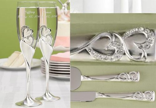 Wedding Bling Love Double Heart Sparkling Champagne Toasting Wedding Party Flutes Set of 2 Glasses and 2PC Knife & Cake Server Set Both with FREE ENGRAVING