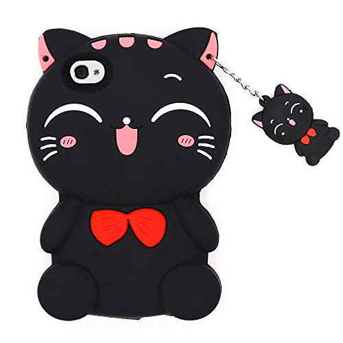 (for iPhone 4 / 4S Cat Case, BEFOSSON 3D Cute Cartoon Animal Kitty Meow iPhone 4 / 4S Phone Case, Soft Silicone Rubber Shockproof Protective Cover Case for iPhone 4 / iPhone 4S (Lucky Cat-Black) )