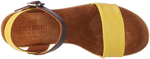 BIANCO Sandale mit Holzplateau, Scarpe con Plateau Donna Gelb (Yellow)