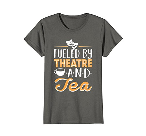 Womens Fueled By Theatre And Tea T Shirt Medium Asphalt