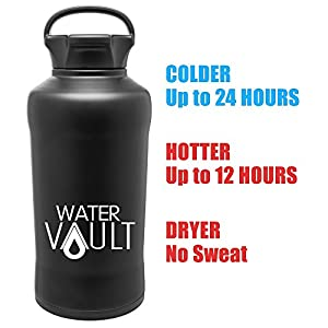 Vacuum Insulated Beer Growler Thermos, Stainless Steel 64 oz., BPA Free - Wide Mouth Water Bottle with Loop Handle - Matte Black by WaterVault