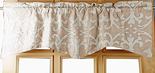 TSC Beige Organic Linen with Ivory Victorian scroll printed and embroidered scalloped Lined window treatment Valance ()